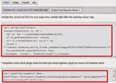 Gambar cara Membuat Kode Html5 Plugin sosial Comment Facebook