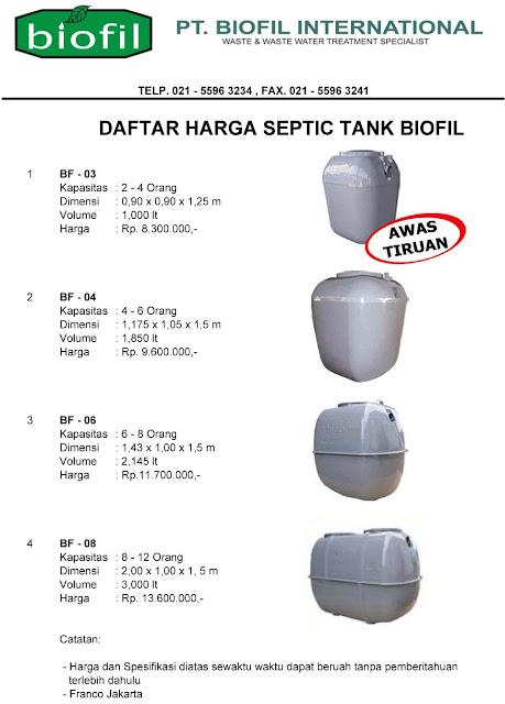 daftar harga septic tank biofil, biopil, sepiteng, spitenk, biotech, stp, ipal, biohitech, biorich, septic tank modern dan baik