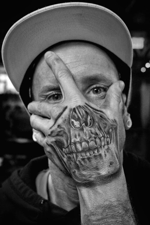 Realistic Skull tattoo on hand