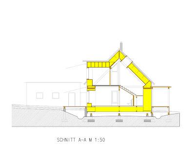 План дома в разрезе. вид сбоку