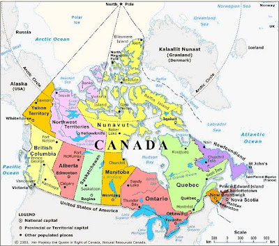 Map of Canada Cities, Provinces, Territory, ಕೆನಡಾ