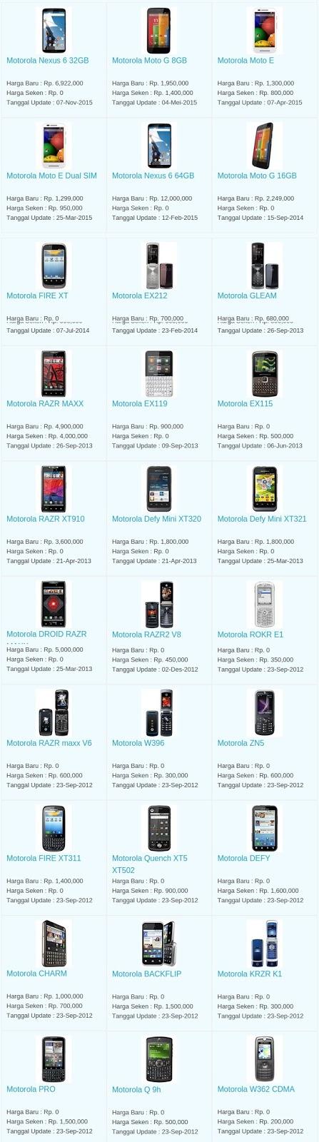 Daftar Harga Hp Motorola Januari 2016