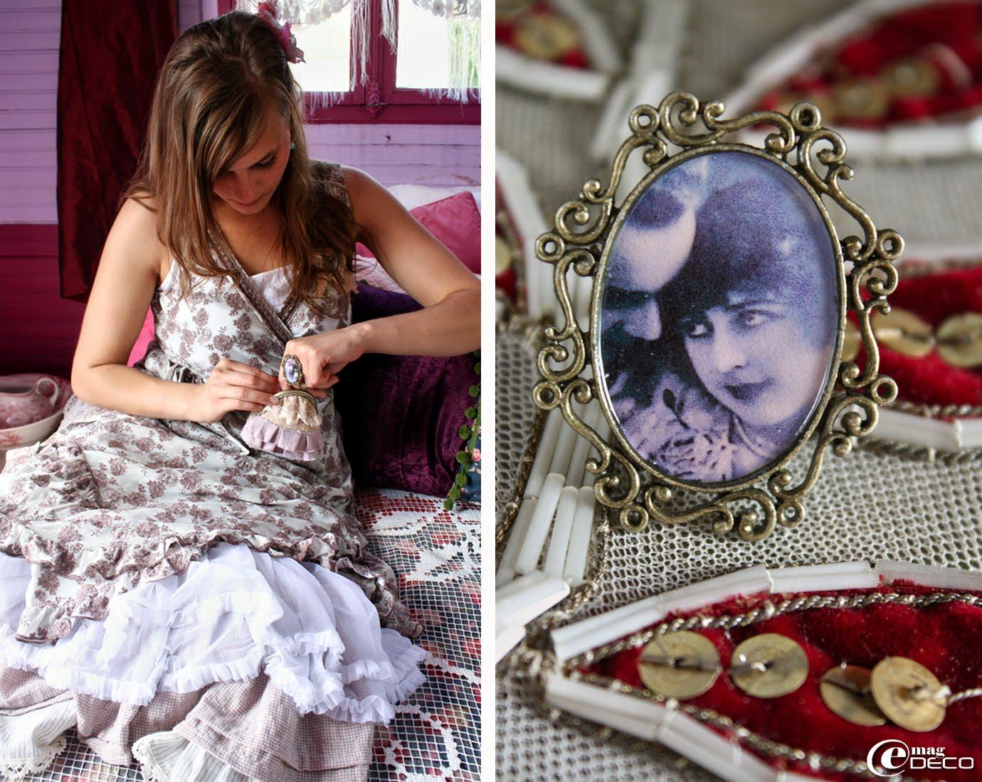 Porte-monnaie en dentelles, création Audelia d'Antan et bague Vintage, création Fée-moi un Bijou