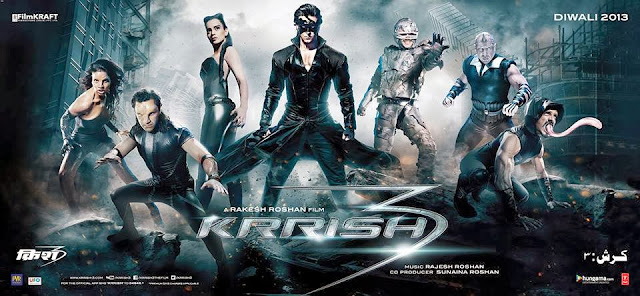 Krrish 3 New Poster with Cheetahwoman, Antman, Kaya, Krrish, Kaal, Rhinoman & Striker.