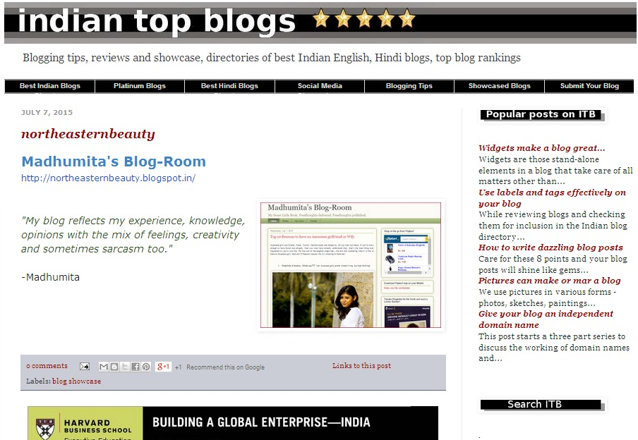 Indian Top Blog Showcase