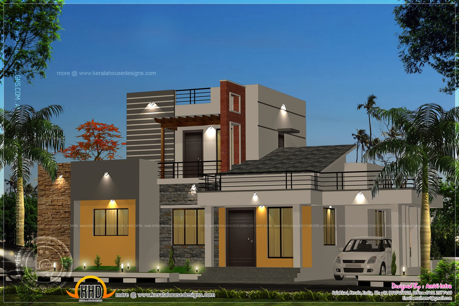 1170 square feet floor plan and elevation kerala home for Kerala home design flat roof elevation