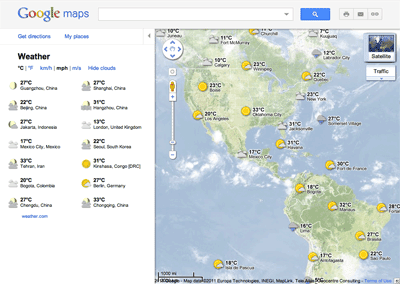 Rain or shine, see the weather in Google Maps