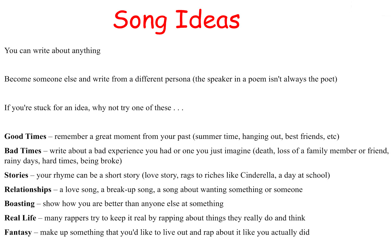 what to write a song about Listening to your favorite music might be an enjoyable pastime, but analyzing a song lets you apply what you're learning in english class to a favorite composition.
