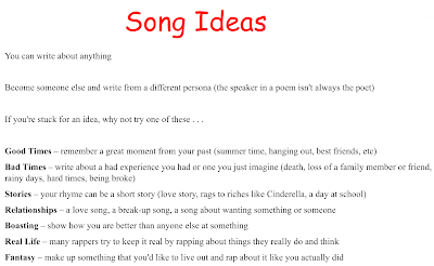 Song Ideas (Write Your Own Rap)