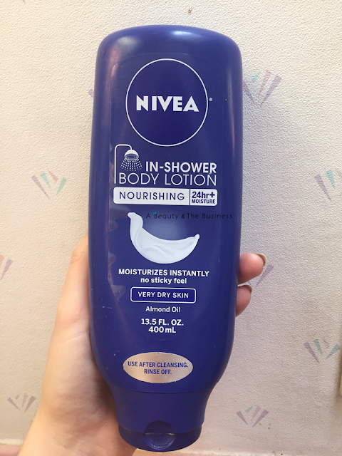a beauty and the business, Almond Oil, in shower lotion review, nivea in shower conditioner review, Nivea In Shower Lotion: Almond Oil Review, nivea review, skin care review,