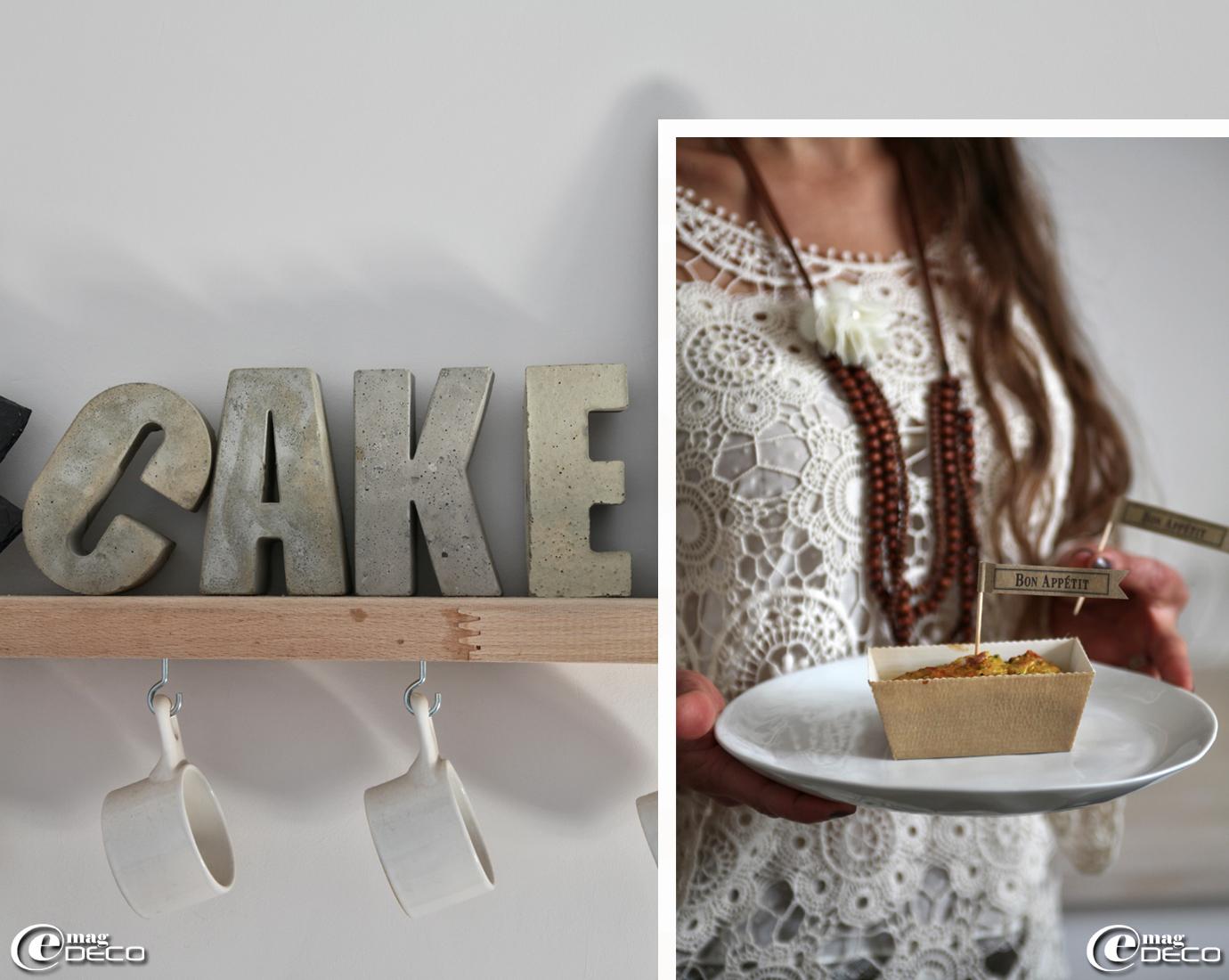 Mot 'Cake' en lettres de béton, création 'Nina imagine pour vous...' et cake aux orties et tomates séchées dont la recette s'est inspirée du livre 'Ortie et Pissenlit' de Anne Brunner