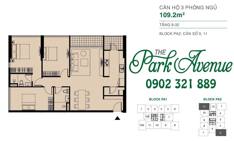 THE PARK AVENUE: Mặt bằng căn hộ 3 PN - 109.2m²