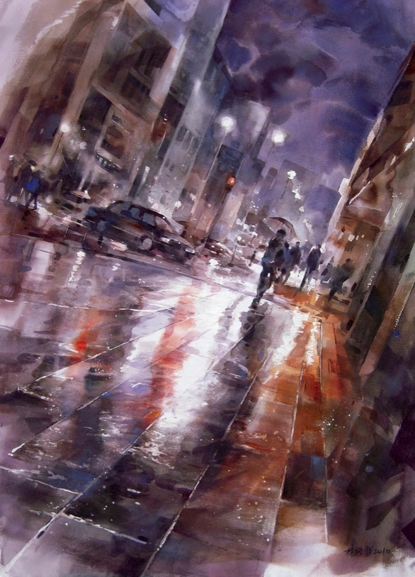15-Lin Ching-Che 林經哲-Dreamlike-Watercolor-Paintings-in-the-City-www-designstack-co