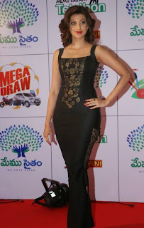 Actress Hamsa Nandini Latest Pictures in Long Dress at Memu Saitam Dinner with Stars Red Carpet  40