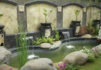 desain taman minimalis | pembuatan kolam hias batu alam
