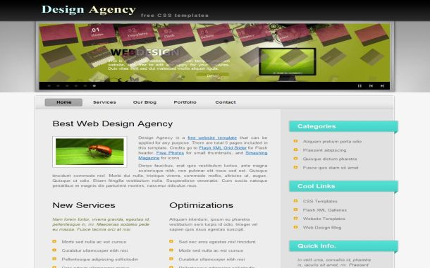 Free Media Agency Flash CSS Website Template
