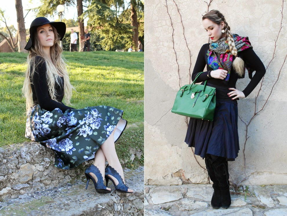 floral skirt scarf russian scarf fashion blogger