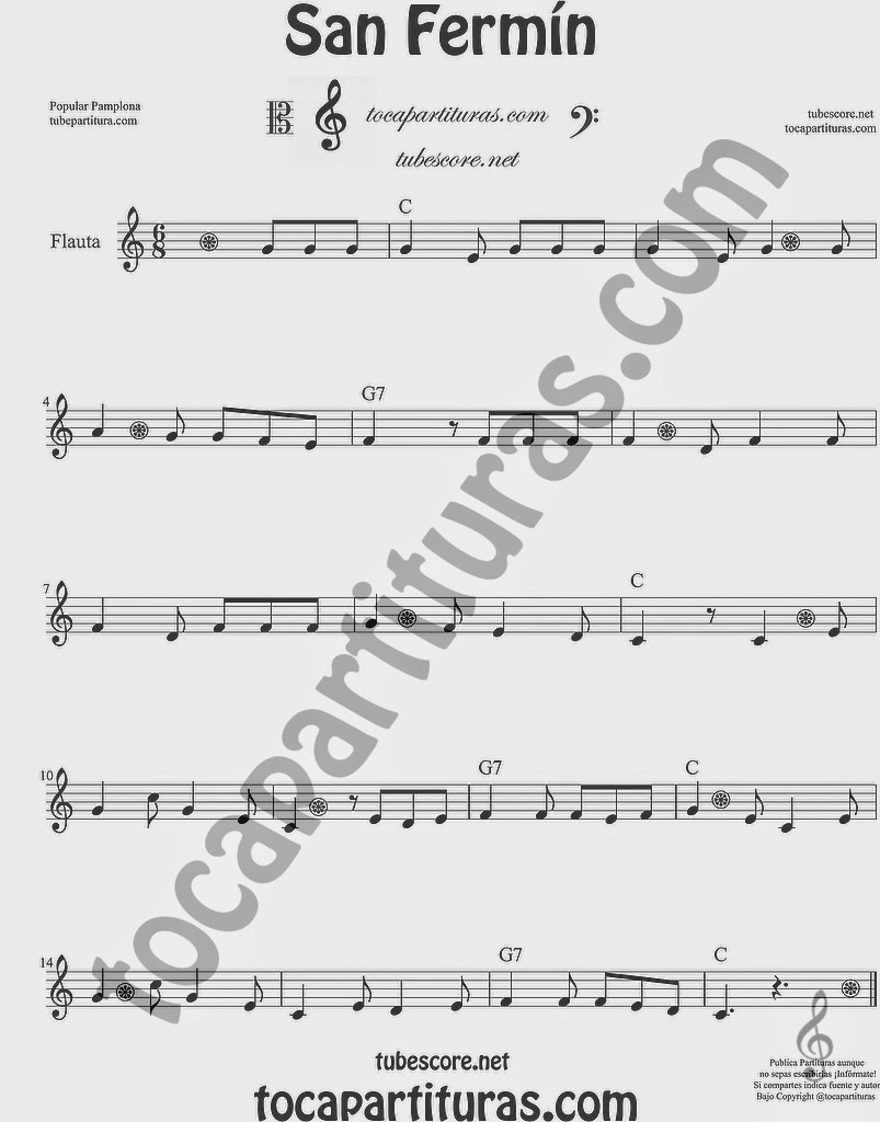 San Fermín Partitura de Flauta Travesera, flauta dulce y flauta de pico Sheet Music for Flute and Recorder Music Scores