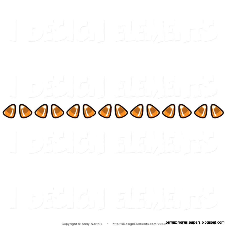 Clip Art of a Border of Candy Corn on White by Andy Nortnik   2968