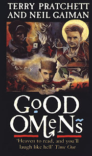 Three faces with three different back grounds are above the title 'Good Omens'