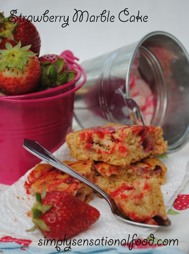 simply.food: Strawberry Marble Cake (eggless)