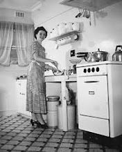 Housewife in Kitchen, 1950's