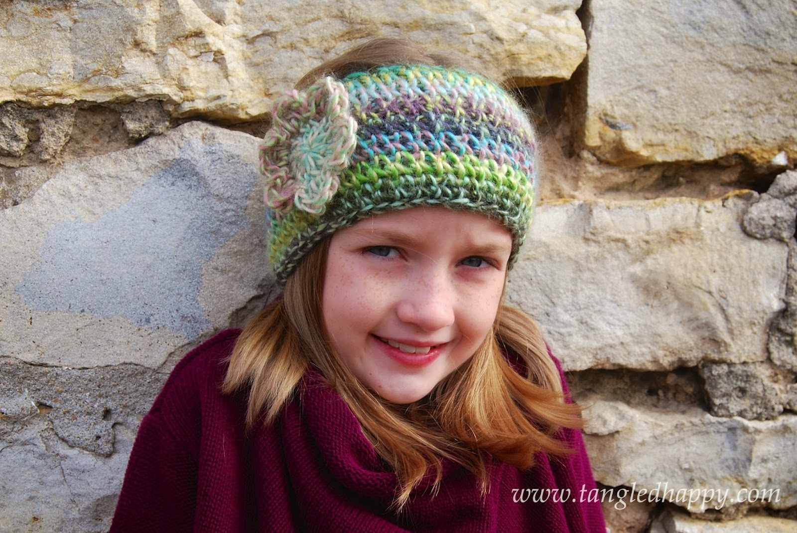 free crochet pattern knit look ear warmer with flower