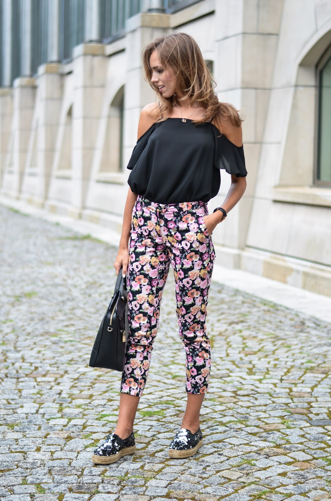 kristjaana mere asos off shoulder top hm floral pants kurt geiger sequin espadrilles