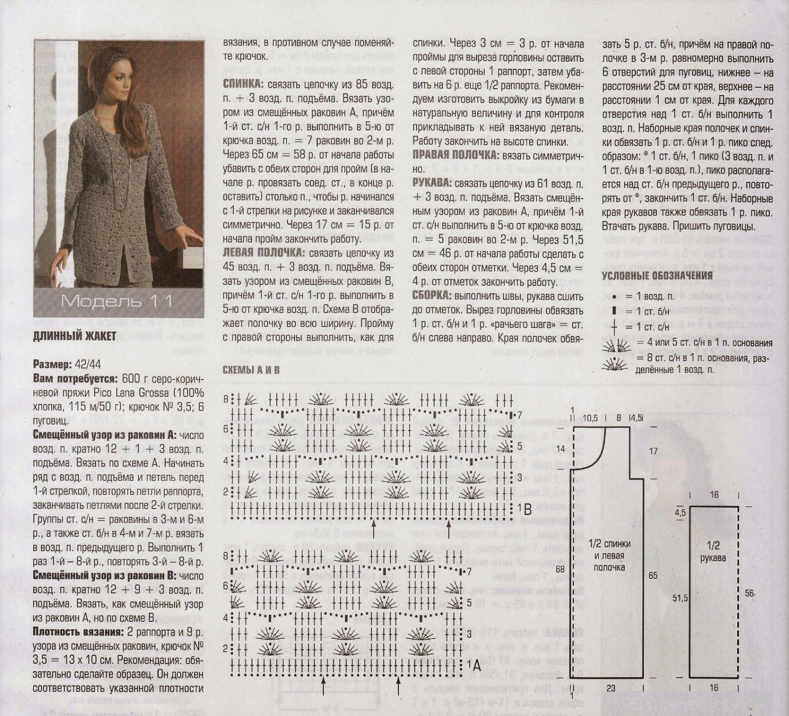 Вязание пальто крючком схемы с описанием и