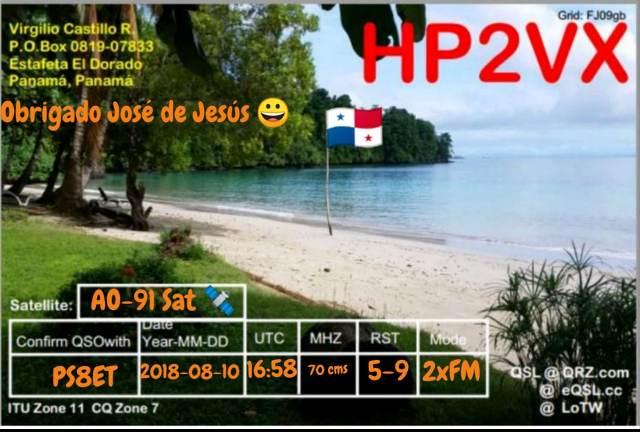 QSL - HP2VX - QSO Sat. AO91