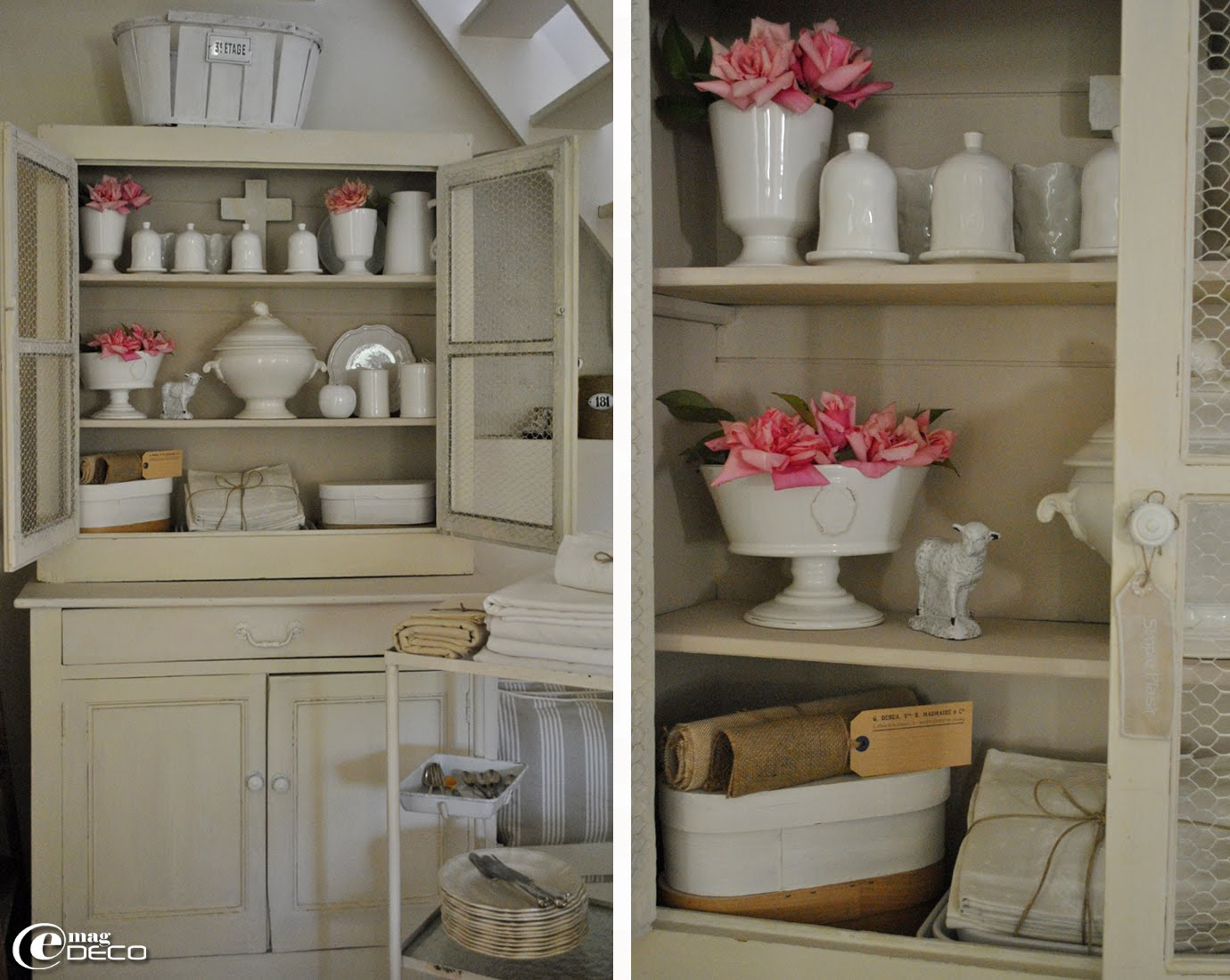 Vaisselle en porcelaine blanche rangée dans un deux corps dans le salon d'Anny, du blog Douce Etoile