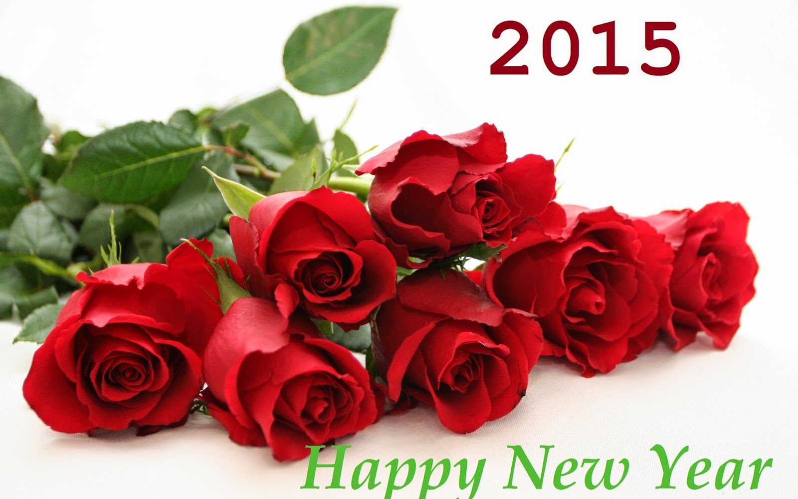 Beautiful Happy New Year 2015 Red Roses Wallpaper