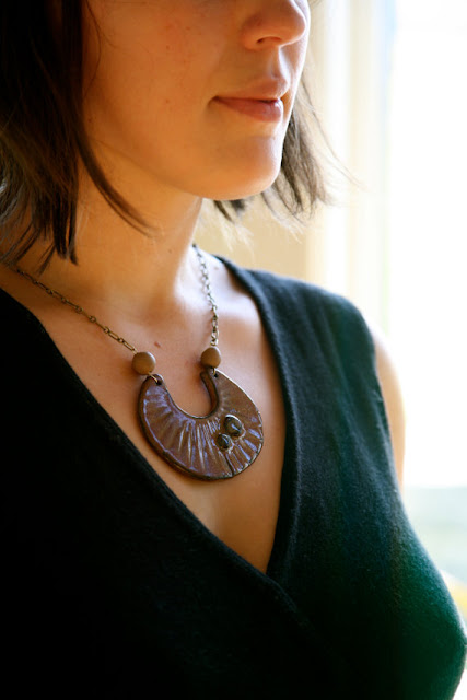 clay necklace, handmade necklace