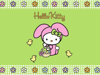 Hello Kitty cute Easter bunny desktop wallpaper background 1024x768