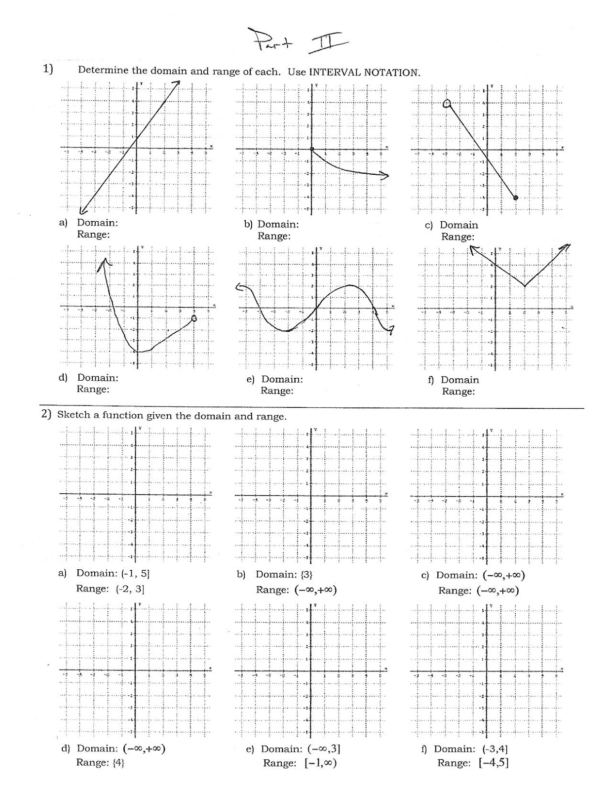 Algebra 1 Worksheets | Domain and Range Worksheets