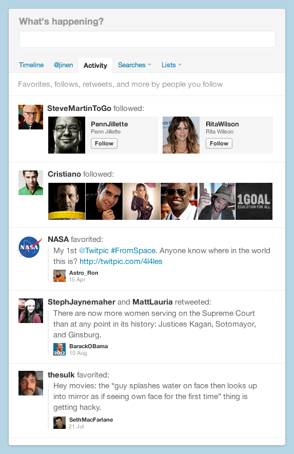 Aktivitätsstream bei Twitter