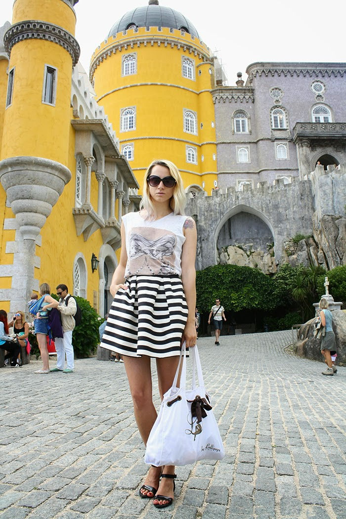 skinny buddha sintra portugal Zara T-shirt H&M striped skirt Lollipops bag