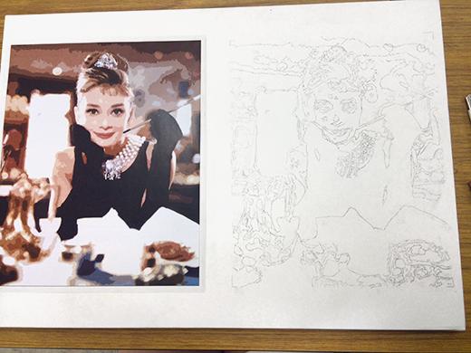 横浜美術学院の中学生教室 美術クラブ 写真から学ぶ!「アクリルガッシュで色面分割」4