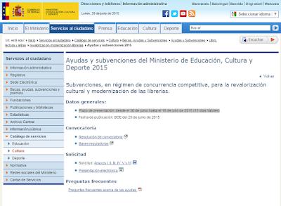 Ayudas y subvenciones del Ministerio de Educación, Cultura y Deporte 2015