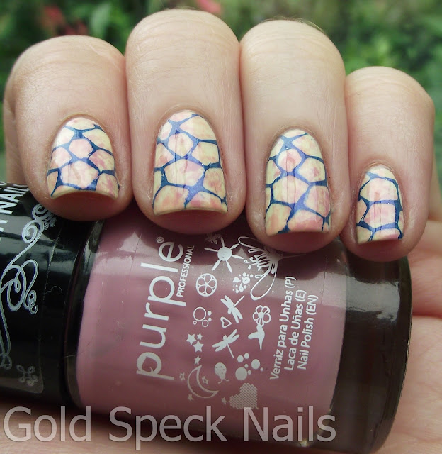 Gold Speck Nails: Saran Wrap Base