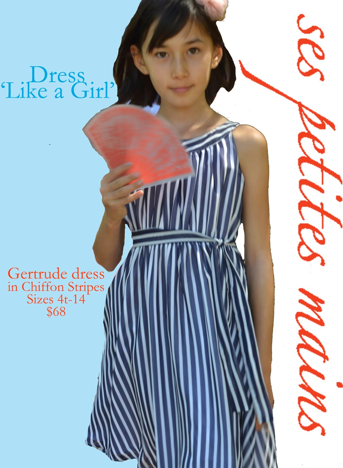Gertrude dress in Chiffon Stripes, special occasion dress, tweens dress for special occasion, party dress, flower girl dress, featured in Babiekins Magazine