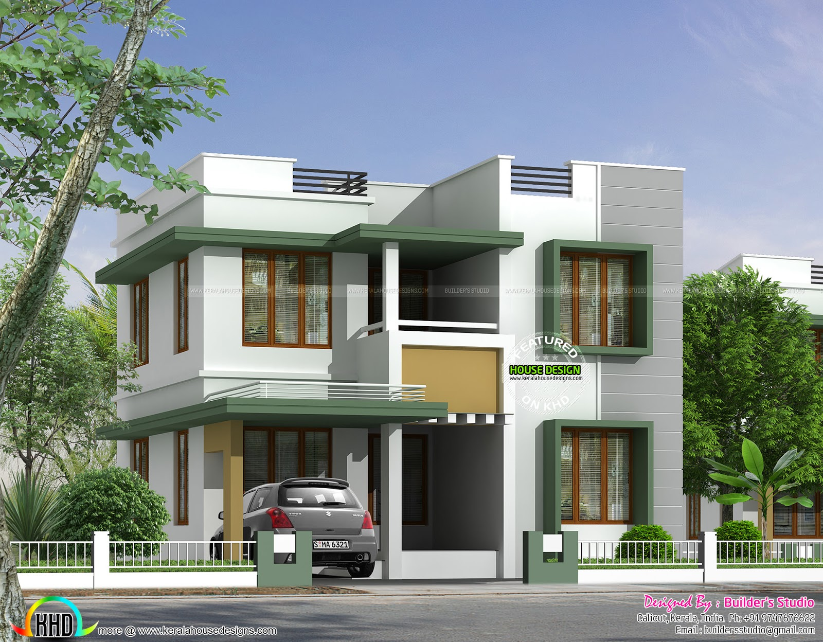 Simple flat roof house in kerala kerala home design and for Simple kerala home designs