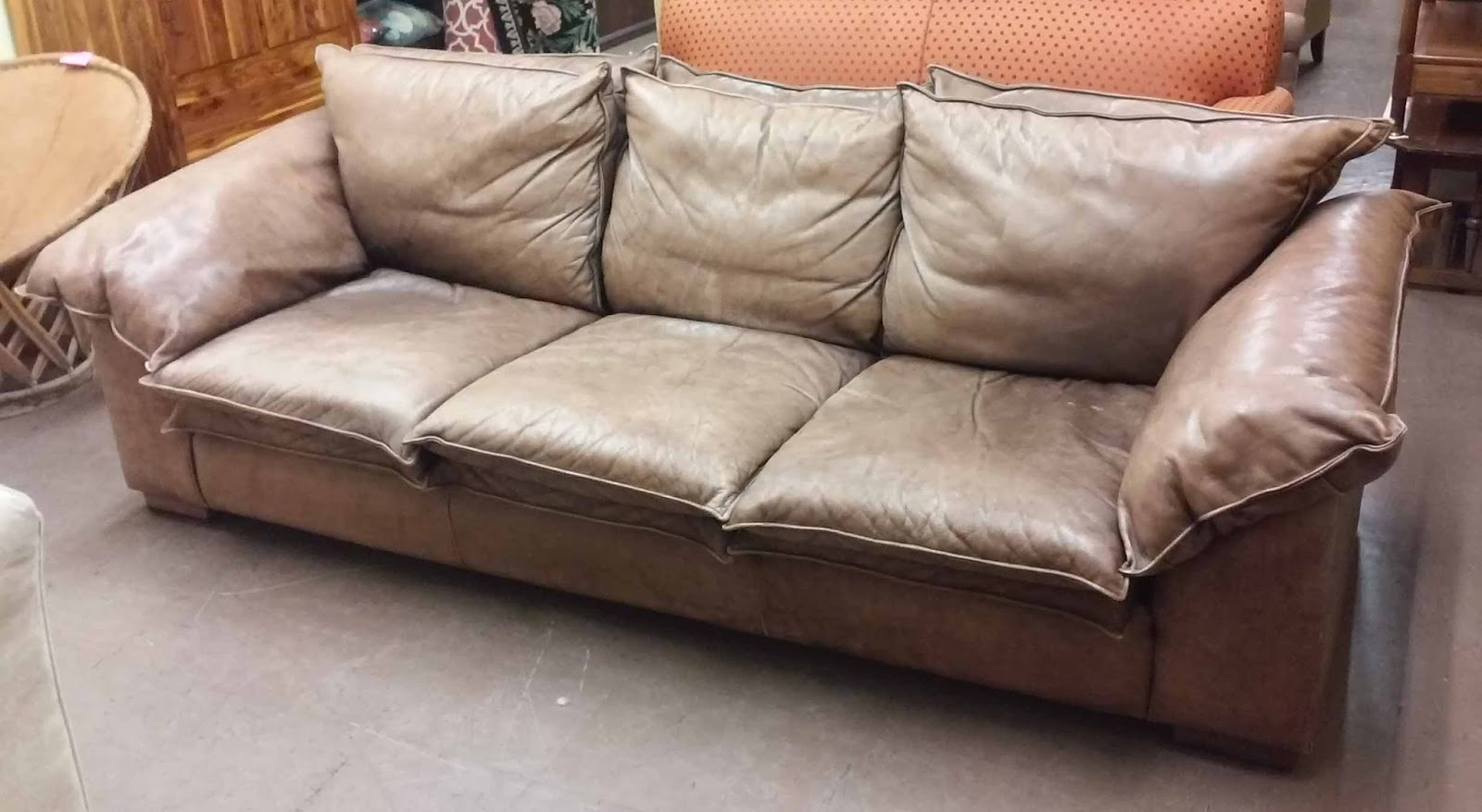 FURNITURE & COLLECTIBLES: SOLD **REDUCED** Bomber Jacket Leather Sofa