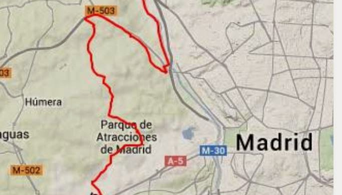 En bici desde Las Tablas - Mapa ruta por senderos Casa de Campo Madrid