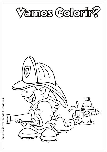 Desenho Bombeiro para colorir