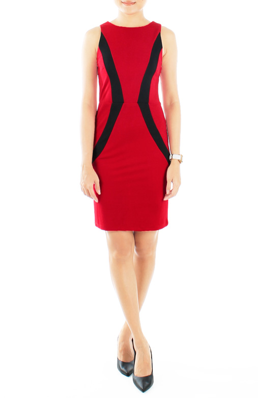 Polished Arrow Dress in Crimson