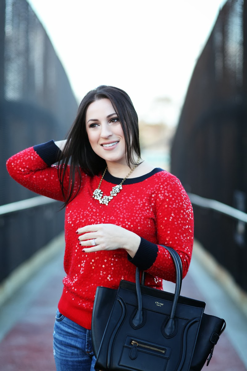 jcrew-red-sequin-sweater-holiday-style-ideas-celine-luggage-tote