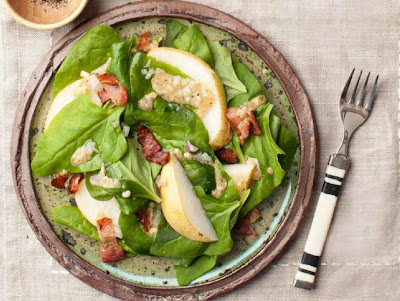 Spinach and Pear Salad with Warm meat dressing recipe - All in one ...