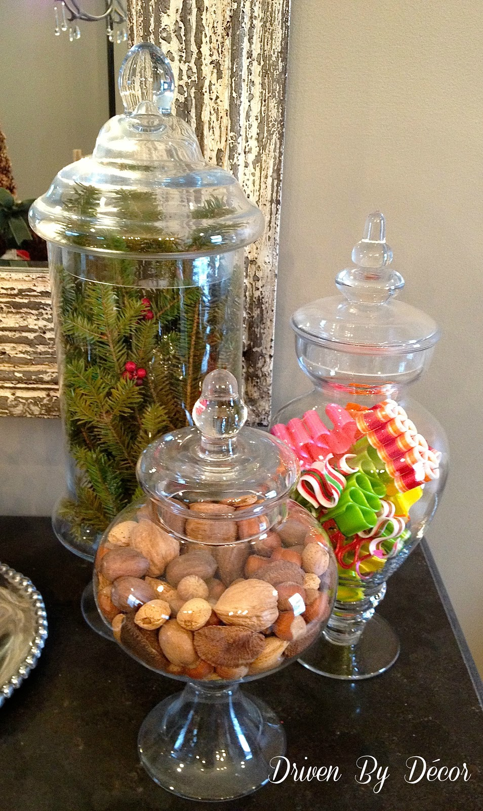 holiday apothecary jars driven by decor
