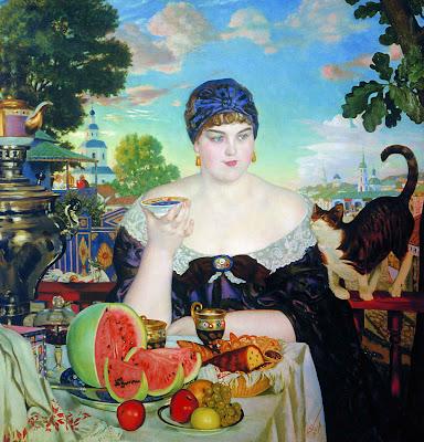 Boris Koustodiev  - la femme du marchand,1918.